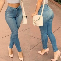Stylish Zipper Embellished High-Waisted Slimming Pencil Jeans For Women blue