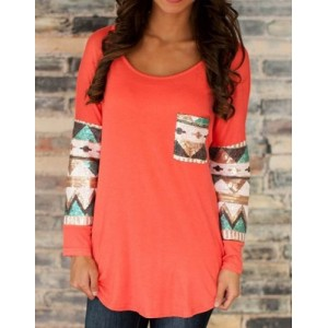 Sweet Scoop Neck Color Block Spliced Pocket T-Shirt For Women BLUE, OFF-WHITE, RED, SHALLOW PINK