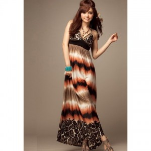 Sweet V-neck Halterneck Bohemian Dress with Leopard Print for Women brown red