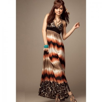 Sweet V-neck Halterneck Bohemian Dress with Leopard Print for Women brown red