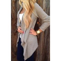Trendy Collarless Knitted Long Sleeve Cardigan For Women black tan