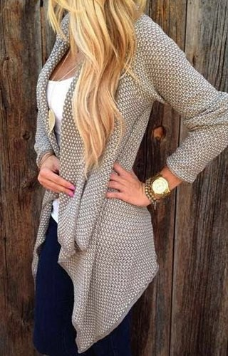 Trendy Collarless Knitted Long Sleeve Cardigan For Women black tan ...