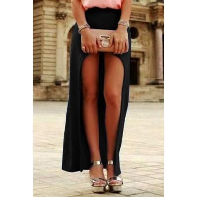 Trendy High-Waisted Solid Color Asymmetrical Skirt For Women black green orange