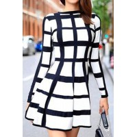 Trendy Long Sleeve Round Neck Plaid Dress For Women white