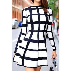 Trendy Long Sleeve Round Neck Plaid Dress For Women white