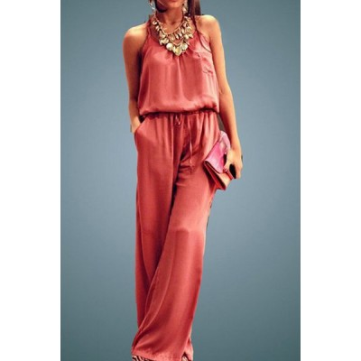Trendy Pure Color Spaghetti Strap Wide Leg Loose Jumpsuit For Women pink