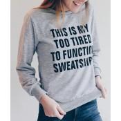 Trendy Women's Loose Long Sleeve Letter Pattern Sweatshirt
