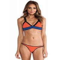 Trimmed Triangular Orange Bikini with Clasp