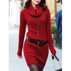 Turtleneck Solid Color Long Sleeves Belt Stylish Sweater Dress For Women red