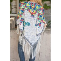 Vintage Collarless 3/4 Sleeve Floral Print Fringe Design Kimono For Women white