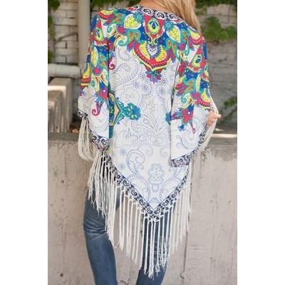 Vintage Collarless 3/4 Sleeve Floral Print Fringe Design Kimono For Women white