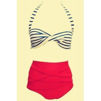 Vintage Halter Striped High-Waisted Bikini Set For Women red white