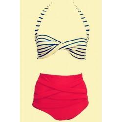 Vintage Halter Striped High-Waisted Bikini Set For Women red white