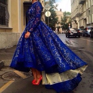 Vintage Jewel Neck Full Lace Spliced Long Sleeve Dress For Women blue