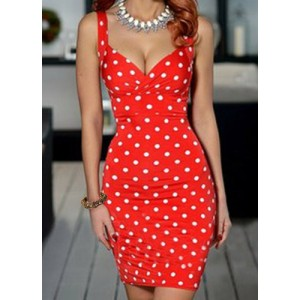 Vintage Plunging Neck Polka Dots Sleeveless Bodycon Dress For Women red