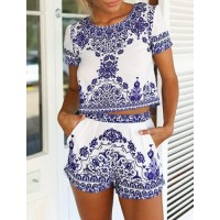 Vintage Scoop Neck Short Sleeve Blouse + Printed Shorts Twinset For Women