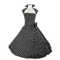 Vintage Turn-Down Collar Sleeveless Polka Dot Bowknot Embellished Dress For Women black