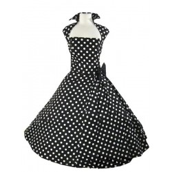 Vintage Turn-Down Collar Sleeveless Polka Dot Bowknot Embellished Dress For Women black