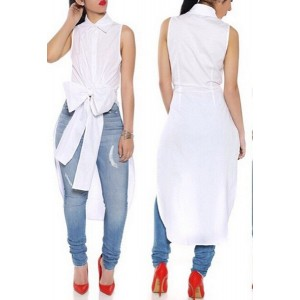 Vogue Shirt Collar Sleeveless High Slit Bowknot Shirt For Women white