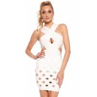 White Celeb Style Crisscross Caged Bandage Dress
