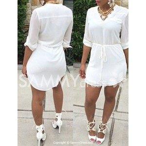 White Drawstring Waist Casual V-Neck Half Sleeve Dress For Women