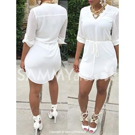 bb60fdebca42 White Drawstring Waist Casual V-Neck Half Sleeve Dress For Women ...