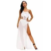 White Floral Applique Sheer Bodysuit Dress