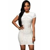 White Gold Studded Short Sleeves Dress black