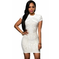White Gold Studded Short Sleeves Dress black