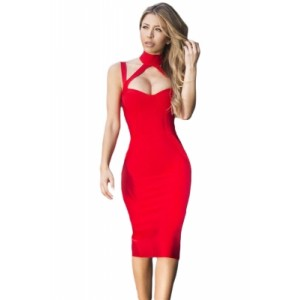 White High Neck Hollow-out Bandage Dress black red
