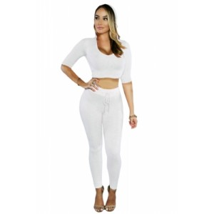 White Hooded Crop Top with Pant Set