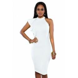 White One Shoulder Ruffle Sleeve Midi Dress