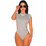White Striped Open Back Cap Sleeves Bodysuit