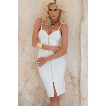 White Zipper Hourglass Bandage Dress