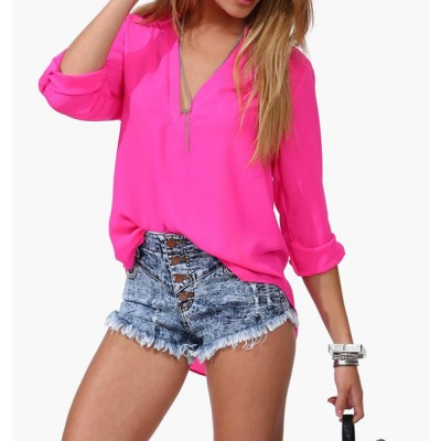 Women's Shirt Women Spring Summer Long Sleeve Chiffon V-neck Blouse BLACK, BLUE, PLUM, WHITE
