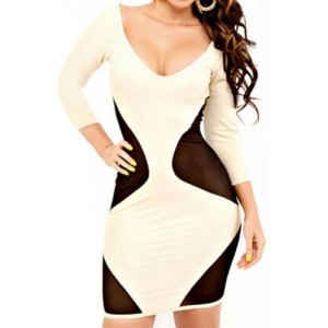 Women's V-Neck Backless 3/4 Sleeve Mesh Splicing Dress