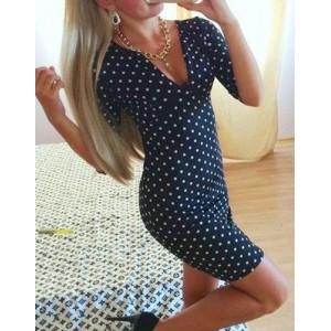Women's V-Neck Polka Dot 1/2 Sleeve Dress