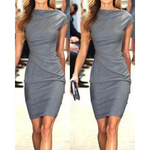Work Style Round Neck Short Sleeve Solid Color Dress For Women gray