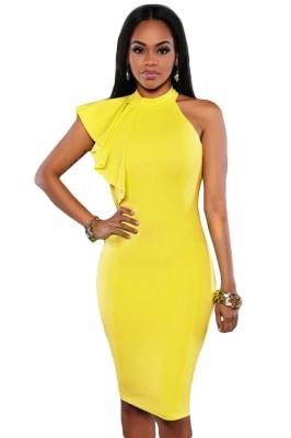 Yellow One Shoulder Ruffle Sleeve Midi Dress