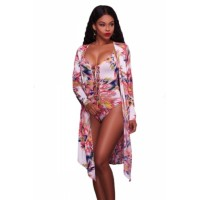 Abstract Print Teddy Swimsuit with Long Cover Up