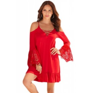 Black Boho Open Shoulder Lace Sleeve Dress Red