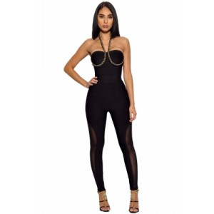 Black Chain Strap Bandage Jumpsuit