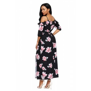 Black Cold Shoulder Floral Slit Maxi Dress Blue Yellow White
