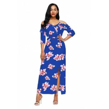 Black Cold Shoulder Floral Slit Maxi Dress Blue Yellow White