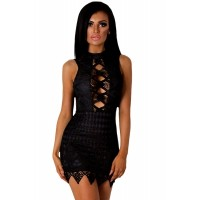 Black Crochet Cut out Mini Dress