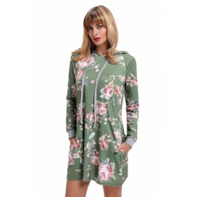 Black Floral Print Drawstring Hoodie Dress Green Gray