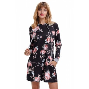 Black Floral Print Drawstring Hoodie Dress Green Gray