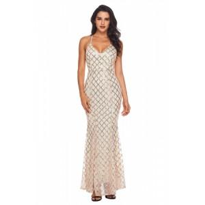 Black Gold Sequins Crisscross Maxi Evening Dress Pink