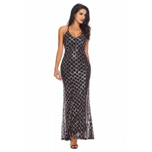 Black Gold Sequins Crisscross Maxi Evening Dress Pink