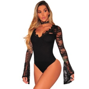 Black Lace Bell Sleeves Bodysuit